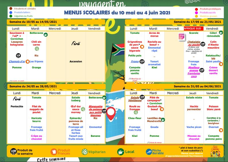 menu cantine mai juin